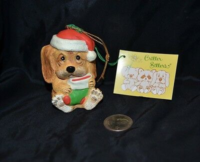 Vtg 1980's CRITTER SITTERS Holiday Hanging Ornament PUPPY DOG Enesco Ceramic NWT