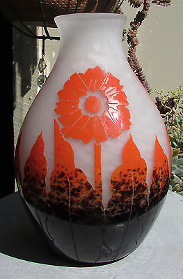 Fabulous Rare 1920'S Degue Cameo Glass Vase Art Deco France Orange Flowers