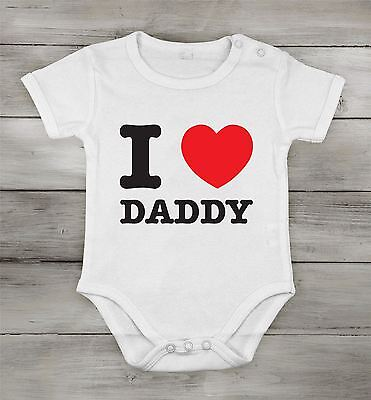 I love Daddy best dad Funny Cute Baby Newborn short One-piece Cotton cothing