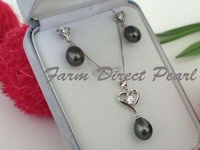 Pendentif En Argent Sterling 925 Earrings SET De culture Perles Grises Coeur