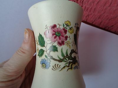 Pretty Peacock & Flowers Purbeck Ceramics Swanage Waisted Small Vase