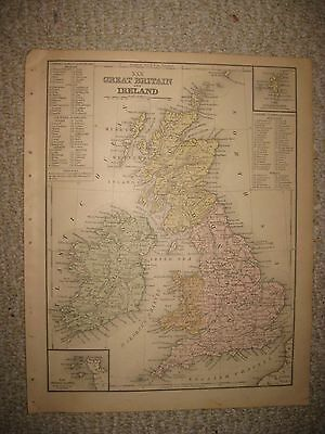Superb Antique 1886 Great Britain England Ireland Scotland Wales Handcolored Map