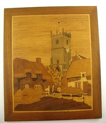 """1986 VJ Boulnois  Marquetry Inlay Picture  Thatched Cottage Tower Flag 11"""" x 13"""""""