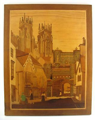 "1985 VJ Boulnois  Marquetry Inlay Picture  Street Scene Towers Castle 15"" x 19"""