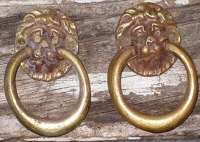 Vintage Lot of 2 PAIR Solid Brass Lion Head Ring Handles Hand Cast in Nevada USA
