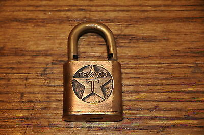 Antique Sargent Texaco Lock with Deep Engraved T Star Vintage  Hardware Gas Oil.