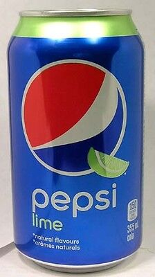 FULL NEW 355ml 12oz Can Pepsi Lime Canada Blingual French English Labeling 2016