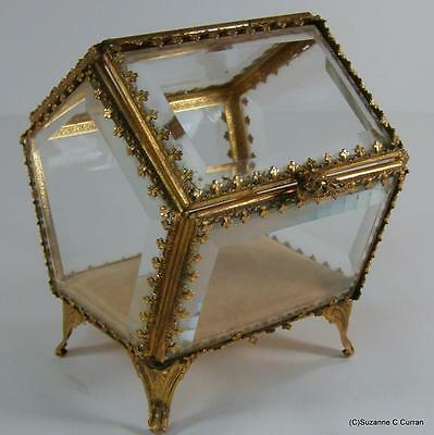 Vintage Hollywood Regency STYLEBUILT Beveled Glass Ormalu Jewelry Casket House
