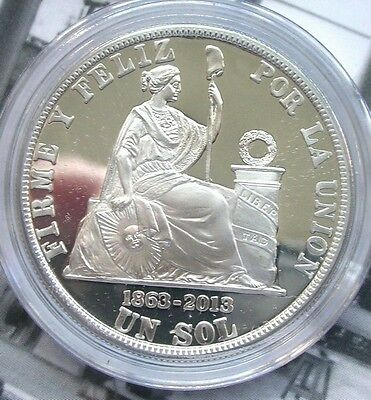 Peru 2013 Creation Sol Monetary New Sole 1oz Silver Coin,Proof