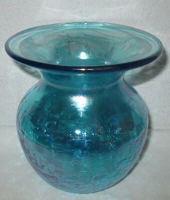 """1998 Gibson BLUE IRIDESCENT CRACKLE ART GLASS 6"""" VASE Stamped"""