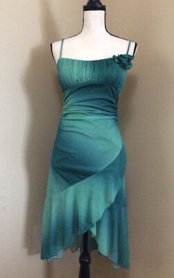 5747a27e1b0eb Ruby Rox Green Glitter Sleeveless Mermaid Dress Party Cocktail w/ Flower Sz  S