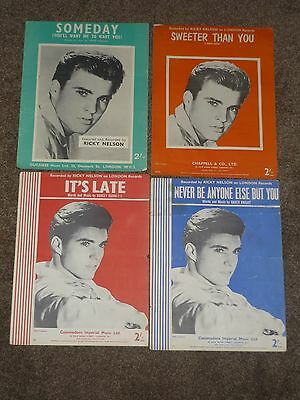 Ricky Nelson - Lot of 4 music sheets