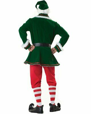 K114 Mens Santa Elf Helper Suit Christmas Xmas Fancy Dress Up Costume Outfit