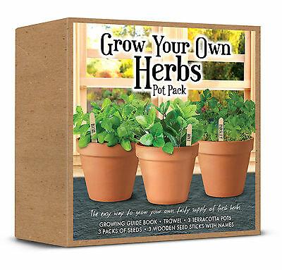 Grow Your Own Herbs Pot Pack, All You Need To Grow Tasty Fresh Herbs Great Gift