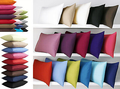 Pair Of Plain Dyed Pillowcases Poly Cotton Percale - Bedding - 2 X Pillow Case