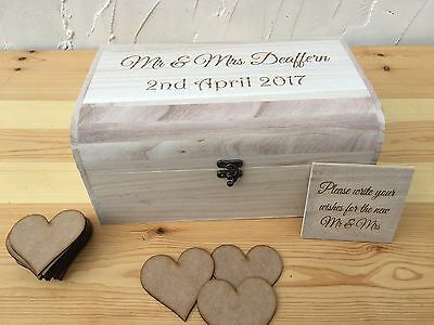 Personalised Wedding Guest Book - Wooden Chest Box with Wooden Hearts & Sign