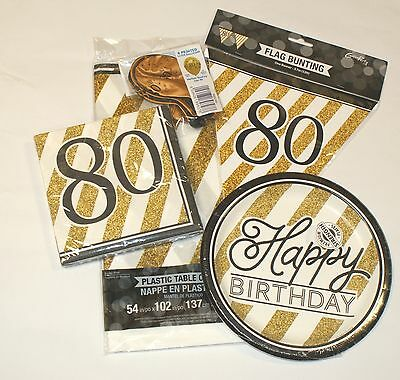 80th Birthday Party Pack 8 Black & Gold Glitter Tableware Decorations Bunting