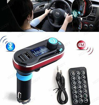Wireless Bluetooth Handsfree Car Kits FM Transmitter Dual USB Charger For Phone