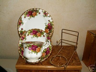 3 Display Stands For A Cup Saucer And Plate Brassed - New