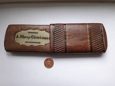 Antique embossed leather cigar case with embroidered panel MERRY CHRISTMAS