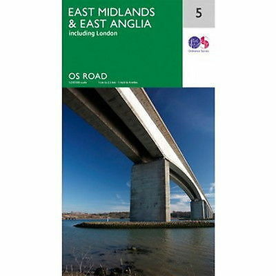 East Anglia and East Midlands Map 5 Ordnance Survey Road Map 1:250 000