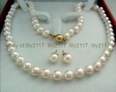 AAA+ 14K Gold Clasp 9-10MM White Akoya Cultured Pearl Necklace Earrings Set
