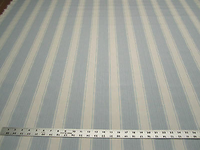 6 1/8 yards of light blue stripe upholstery and drapery fabric r2069