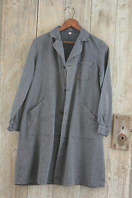 Vintage French duster blue cotton denim chore coat jacket work wear small