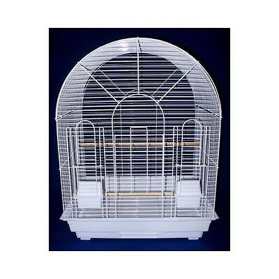 "YML 1/2"" Bar Spacing Round Top Small Bird Cage - 20""x16"" In White - 1934WHT"
