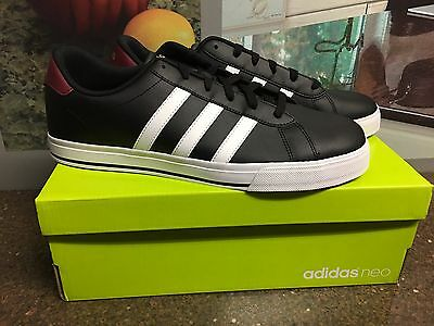 info for d1142 24ebd adidas NEO Daily Mens Shoes Sneakers Black  White Soft Leather NIB Size  13 NEW