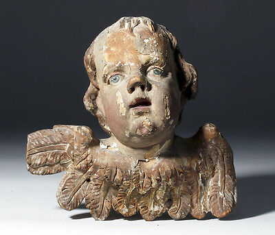 ARTEMIS GALLERY 17th C. European Gessoed Wood Cherub / Angel