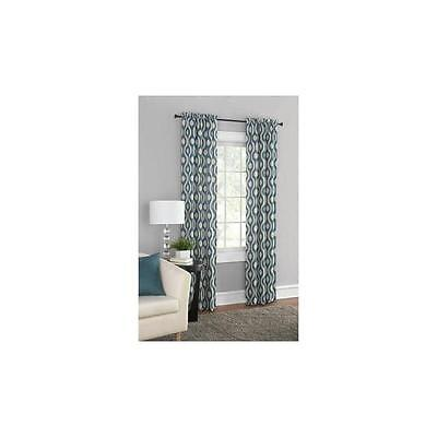 """Mainstays Thermal Print Woven Curtain Panel Pair """"60 X 63"""" Teal"""