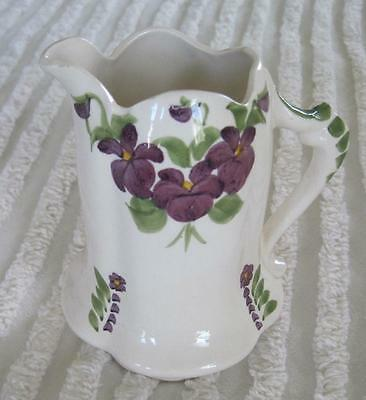 "Cash Family Southern Potteries Hand Painted Violets 4.75"" Pitcher"