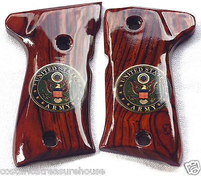 Beretta GRIPS 92 & 96, C-A PAINTED LOGO U~S~ARMY COCOBOLO ROOT X-2 XTRA~NICE!!!