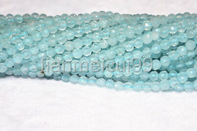 "Natural 4mm Faceted Blue Aquamarine Round Gemstone Loose Beads 15"" AAA"