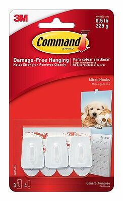 Micro Genuine Command  Hooks with Command Adhesive Strips (1 Pack of 3 Hooks)