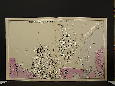 Maine, Androscoggin County Map, 1873 Cities of Auburn & Lewiston 6 Pages O3#44