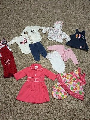 Mixed Lot Of 11 Infant Baby Girls 0-3 & 3-6 Months Bodysuit Jeans Dress Coat Ect
