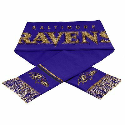 "Baltimore Ravens Scarf Knit Winter Neck NEW 65"" - Metallic Thread Gold Logo"