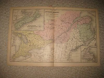 Superb Antique 1886 Ontario Quebec New Brunswick Canada & North America Map Nr