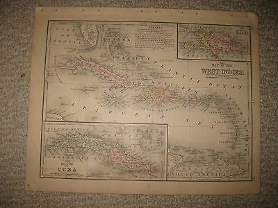 Antique 1886 West Indies Cuba Bahamas Puerto Rico Florida Jamaica Caribbean Map