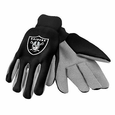 Oakland Raiders Gloves Sports Logo Utility Work Garden NEW Colored Palm