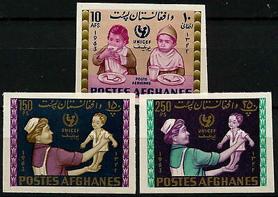 Afghanistan 1963/1964 UNICEF, Children MNH Imperf Set Of 3 #D33273