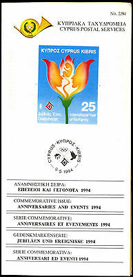 Cyprus 1994Anniversaries And Events, Post Office Leaflet Brochure #C37124