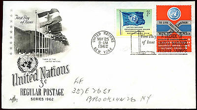 United Nations 1962, 3c Regular Postage FDC First Day Cover #C36039