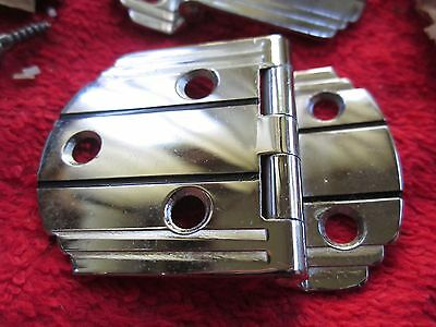 4 Vintage Amerock Art Deco Chrome With Black Lines Cabinet Hinges, New Old Stock