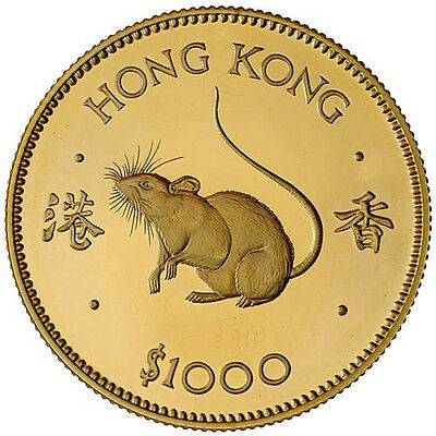 1984 Hong Kong 1000 Dollars KM# 52  Year of the Rat Gold Proof  NGC PF67 UCAM