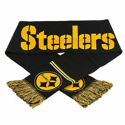 """Pittsburgh Steelers Scarf Knit Winter Neck NEW 65"""" Metallic Thread Silver"""