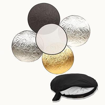 """Durable 60CM 24"""" 5 in 1 Light Multi Photo Collapsible Reflector"""