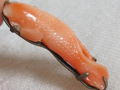 Antique Chinese Sterling Silver carved Coral Carp Fish Pin Brooch